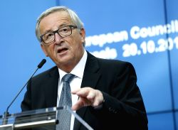 BRUSSELS, Oct. 20, 2017 - EU Commission President Jean-Claude Juncker addresses a press conference wih European council president Donald Tusk (not seen) at the end of a two-day EU Summit in Brussels, ...