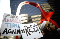 CHICAGO, Feb. 17, 2017 - Protesters gather calling for a general strike against U.S. President Donald Trump in Chicago, the United States, on Feb. 17, 2017.