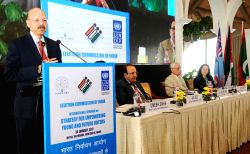 "Chief Election Commissioner Nasim Zaidi delivers the inaugural address at the International Seminar on ""Strategies for Empowering Young & Future Voters"", organised by the Election ..."