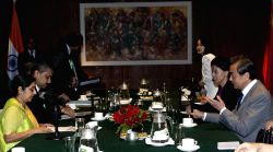 Chinese Foreign Minister Wang Yi (1st R) meets with Indian Foreign Minister Sushma Swaraj (1st L) in Kathmandu, Nepal, June 25, 2015. Both ministers came to ...