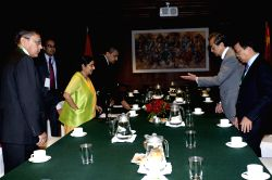 Chinese Foreign Minister Wang Yi (2nd R) meets with Indian Foreign Minister Sushma Swaraj (3rd L) in Kathmandu, Nepal, June 25, 2015. Both ministers came to ...