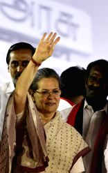 Congress chief Sonia Gandhi during a party rally ahead of Tamil Nadu legislative assembly elections in Chennai, on May 5, 2016.
