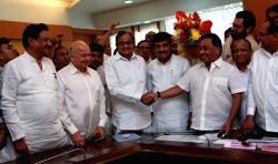 Congress leader P Chidambaram and Narayan Rane file nomination for elections to Rajya Sabha at Maharashtra Assembly in Mumbai, on May 31, 2016.