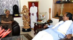 Congress leaders Ghulam Nabi Azad calls on the Karnataka Chief Minister Siddaramaiah in Bengaluru on July 4, 2015.