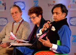 Congress MP Shashi Tharoor at Jaipur Literature Festival (JLF) being held at Diggi Palace in Jaipur, on Jan 21, 2017.
