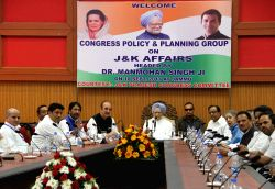 Congress Policy and Planning group on Jammu and Kashmir Affairs led by senior Congress leader and former Prime Minster Manmohan Singh during a meeting in Jammu on Sept 10, 2017. Also seen ...