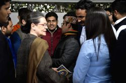 Congress President Sonia Gandhi and Vice President Rahul Gandhi meets the winners of NSUI from UP, in New Delhi on Feb 4, 2016.