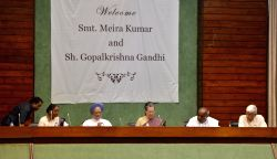 Congress President Sonia Gandhi, Congress leader Manmohan Singh and JD(S) chief H. D. Deve Gowda with UPA presidential candidate Meira Kumar and vice presidential candidate Gopalkrishna ...
