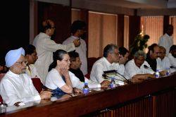 Congress President Sonia Gandhi, former Prime Minister Manmohan Singh, JD(U) leader Sharad Yadav, Trinamool Congress leader Derek O'Brien, Congress vice president Rahul Gandhi, CPI-M ...