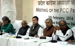 Congress vice president Rahul Gandhi during a party meeting in New Delhi on Feb 5, 2016. Also seen Motilal Vohra, Ambika Soni, Janardan Dwivedi and Digvijay Singh.