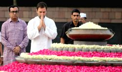 Congress vice president Rahul Gandhi paying homage at the samadhi of the former Prime Minister, late Rajiv Gandhi, on his 72nd birth anniversary, at Vir Bhoomi, in Delhi on August 20, 2016.