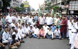 Congress workers protest against TMC students agitation at Calcutta University in Kolkata on July 2, 2015.
