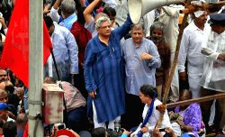 CPI-M General Secretary Sitaram Yechury participates during a protest rally against the controversial demolition of Ambedkar Bhavan in Dadar of Mumbai on July 19, 2016.