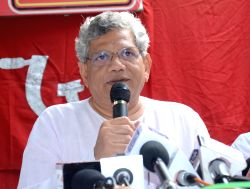 CPI(M) general secretary Sitaram Yechury addresses a press conference in Lucknow on July 25, 2015.