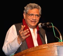 CPI-M general secretary Sitaram Yechury addresses during an interaction session in Lucknow on Feb 1, 2016.