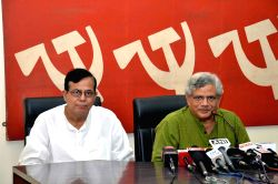 CPI-M General Secretary Sitaram Yechury addresses a press conference in Kolkata on Aug 18, 2016.