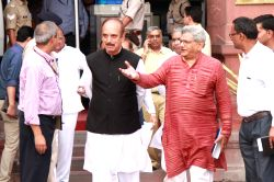 CPI-M General Secretary Sitaram Yechury and Congress leader Ghulam Nabi Azad leave after All Party meeting at North Block in New Delhi on Sept 29, 2016.  India caused