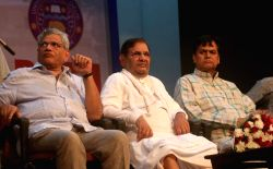 CPI-M General Secretary Sitaram Yechury and  JDU leader Sarad Yadav during a dialogue session in 'Democracy Dialogue' on Composite Culture at DelhiUniversity in New Delhi, on Oct 13, 2017.