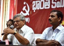 CPI-M General Secretary Sitaram Yechury during a party programme in Hyderabad, on Aug 27, 2015.