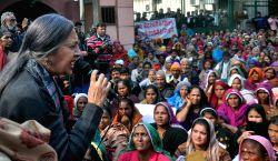 CPI-M leader Brinda Karat joins resident of Kathputli Colony demonstrating against demolition of their houses by the Delhi Development Authority (DDA) in New Delhi, on Jan 16, 2017. It is ...