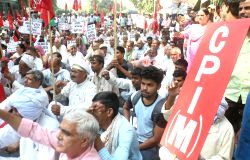 CPI-M workers stage a demonstration against BJP in New Delhi on Oct 17, 2017.