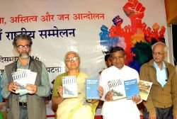 CPI-ML General Secretary Dipankar Bhattacharya, Social activist Medha Patkar and Jharkhand Vikas Morcha Prajatantrik (JVM-P) chief Babulal Marandi during 11th national conference on National ...