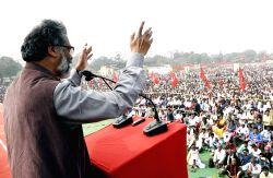 CPI-ML General Secretary Dipankar Bhattacharya addresses a rally in Patna on Feb 19, 2017.