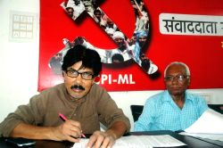 CPI(ML) leader Mahboob Alam addresses a press conference in Patna on Aug 19, 2016.