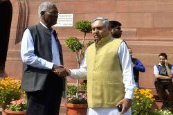 CPI MP D Raja and Congress MP Janardan Dwivedi at Parliament on Feb 9, 2017.