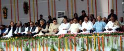 CPI national secretary D Raja, CPI-M general secretary Sitaram Yechury, National Conference chief Farooq Abdullah, NCP Chief Sharad Pawar, Union Minister for Urban Development, Housing and ...