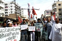CPI workers stage a demonstration against Prime Minister Narendra Modi in Patna on Feb 15, 2017.