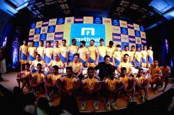 Cricket legend Sachin Tendulkar, actors Kamal Haasan, Ram Charan, Allu Arjun along with the team during the jersey launch of Tamil Thalaivas Kabaddi team in Chennai, on July 20, 2017.