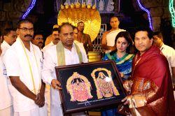 Cricket legend Sachin Tendulkar alongwith his wife Anjali Tendulkar visits Tirumala Venkateswara temple in Tirupati, Andhra Pradesh on July 20, 2017.