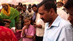 Delhi Chief Minister Arvind Kejriwal meets victims of 17th October fire that broke out in Batla House area of New Delhi; on Oct 18, 2017. Kejriwal announced Rs 25,000 each for families whose shacks ...