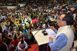Delhi Congress chief Ajay Maken addresses a convention of heads from unauthorised colonies at the Talkatora Indoor Stadium in New Delhi on Feb 26, 2017.