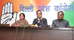 Delhi Congress chief Ajay Maken addresses a press conference in New Delhi on Feb 5, 2016. Also seen Congress leader Sharmistha Mukherjee.