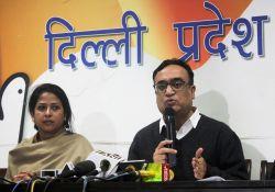 Delhi Congress chief Ajay Maken addresses a press conference in New Delhi on Feb 8, 2016. Also seen Congress leader Sharmistha Mukherjee.