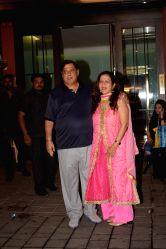 Director David Dhawan along with his wife Karuna Dhawan at Arpita Khan's residence for Pre-Diwali celebration in Mumbai on Oct 13, 2017.
