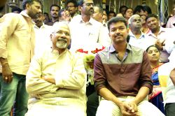 Director Mani Ratnam and actor Vijay at Shanthanu Bhagyaraj-Keerthi wedding ceremony in Chennai.
