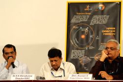 "Dr. M Annadurai, Programme Director-IRS and SSS with Dr. S K Shivakumar, Director-ISAC and Arunan S , Project Director-MARS addressing press conference about ""Mars Orbiter Mission"" at the ISRO in Bangalore on Sept. 11, 2013."