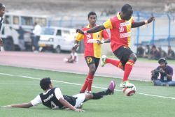 East Bengal striker Edeh Chidi  in action during East Bengal vs MD. Sporting Club Kolkata League match. East Bengal won the match 6-1 at Vivekananda Yuba Bharati Krirangan in Kolkata on Feb. 23, 2013 .(Photo: Kuntal Chakrabarty/IANS)