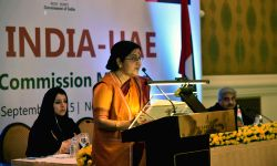 External Affairs Minister Sushma Swaraj addresses during India-UAE Joint Commission Meeting in New Delhi on Sep 3, 2015.