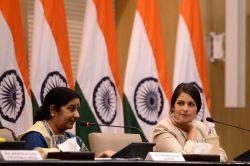 External Affairs Minister Sushma Swaraj addresses a press conference in New Delhi, on Jan 9, 2016.