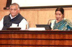 External Affairs Minister Sushma Swaraj addresses a press conference on the 14th Pravasi Bharatiya Divas in New Delhi, on Jan 9, 2016. Also seen Minister of State (MoS) for External ...