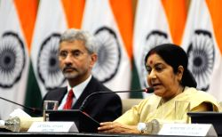 External Affairs Minister Sushma Swaraj addresses a press conference in New Delhi, on June 19, 2016. Also seen Foreign Secretary S Jaishankar.
