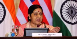 External Affairs Minister Sushma Swaraj addresses during a joint press conference in New Delhi on Aug 30, 2016.