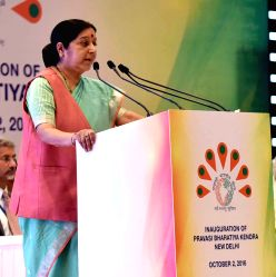 External Affairs Minister Sushma Swaraj addresses at the inauguration of the Pravasi Bhartiya Kendra, at Chanakyapuri, in New Delhi on Oct 2, 2016.