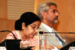 External Affairs Minister Sushma Swaraj addresses at the inauguration of BRICS Media Forum in New Delhi, on Oct 18, 2016. Also seen India's Foreign Secretary S Jaishankar.