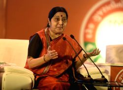External Affairs Minister Sushma Swaraj addresses at a 'Mahila Town Hall' in Ahmedabad on Oct 14, 2017.