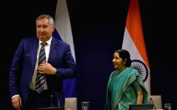 External Affairs Minister Sushma Swaraj and Deputy Prime Minister of the Russian Federation Dmitry Rogozin during the media briefing  after a meeting in New Delhi on May 10, 2017.